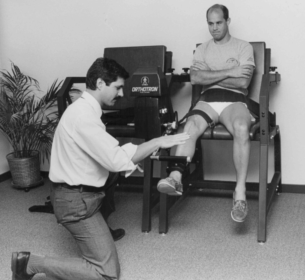 Bill treating Mike Landgraph post ACL reconstruction in 1990. We have had the pleasure of working with Mike & his family over the last 25 years,