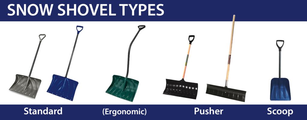 Illustration of different types of snow shovels.