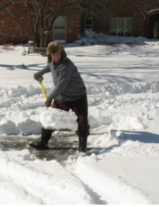 Warm up before and take breaks during shoveling snow.