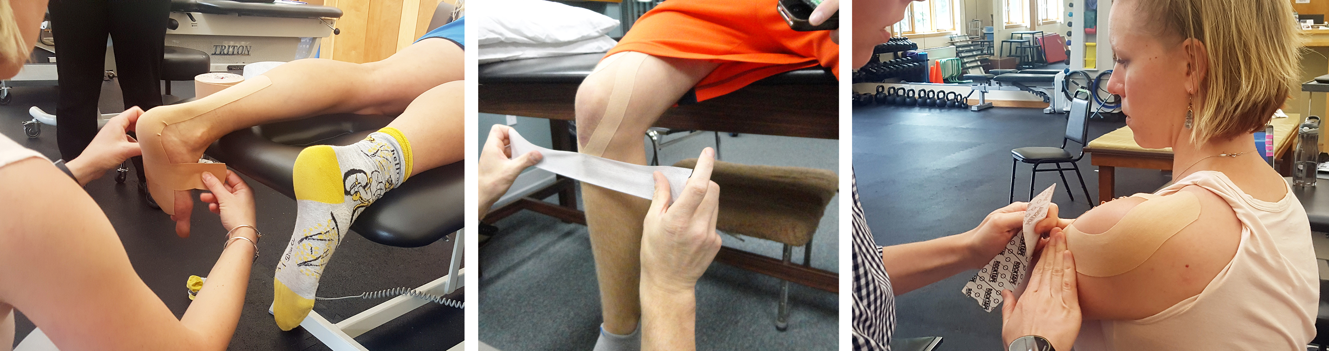Examples of kinesiology taping.