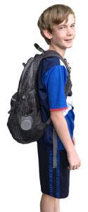 Boy wearing backpack correctly