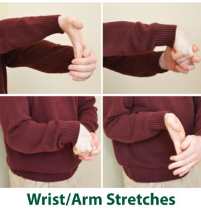 Demonstrated stretch of wrist and forearm for desk workers.