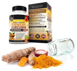 Turmeric in ground spice and supplement form.